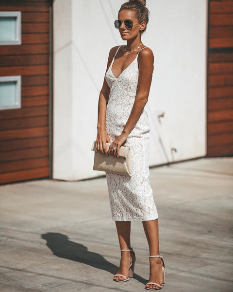 From This Moment Lace Midi Dress - Off White