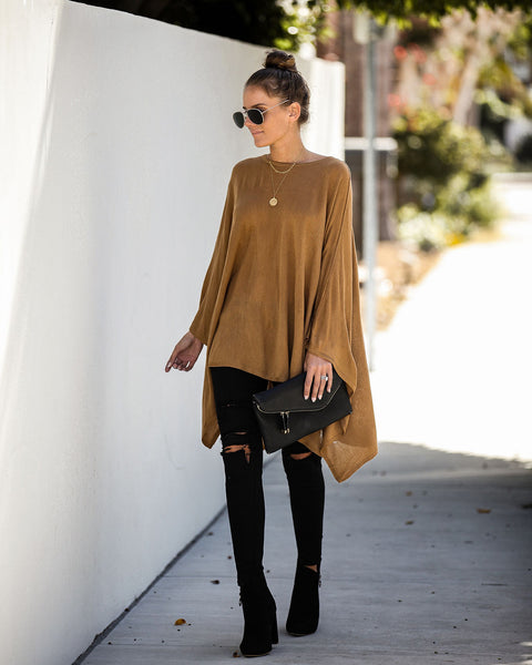 Hostess With The Mostest Knit Poncho - Toffee