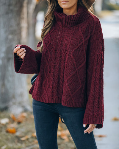 Lyla Cotton Blend Cable Knit Sweater - Wine