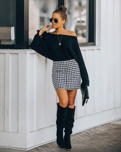 Strike A Chord Houndstooth Zip Mini Skirt