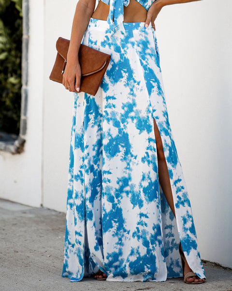 Soaring The Sky Tie Dye Slit Maxi Skirt