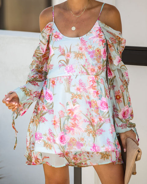 Cascading Florals Cold Shoulder Ruffle Dress