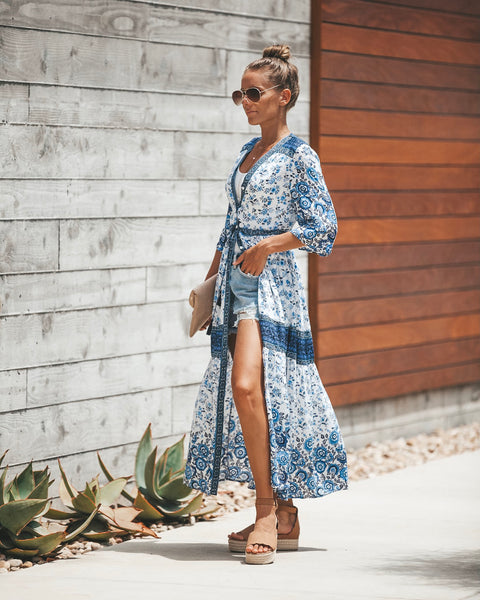 Batika Button Down Maxi Dress - Blue
