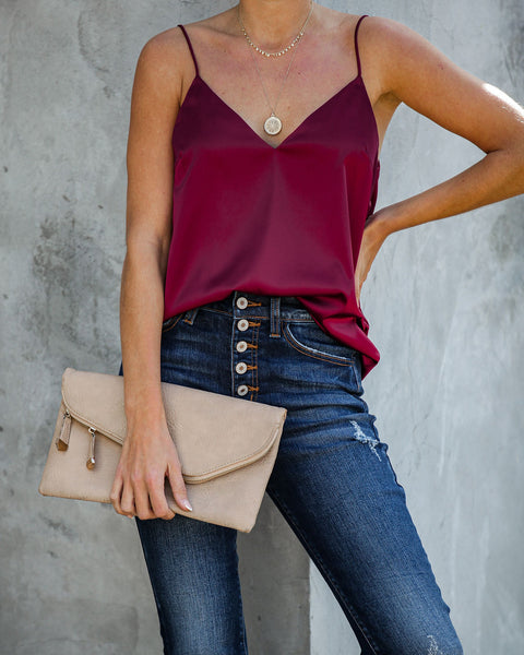 By The Chimney Satin Cami Tank - Burgundy