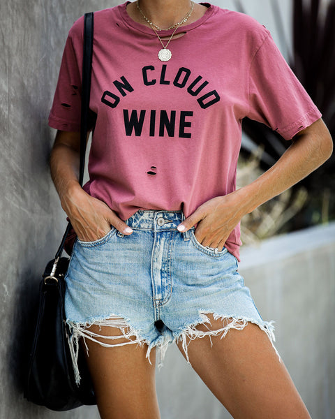 On Cloud Wine Distressed Cotton Tee
