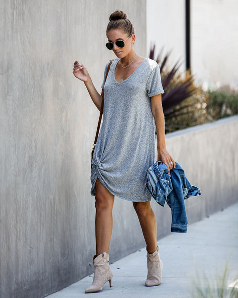 Jonas Tri-Blend Knotted T-Shirt Dress - Heather Grey