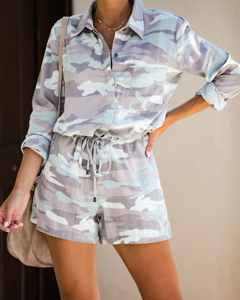 Brixton Cotton Pocketed Camo Romper - FINAL SALE