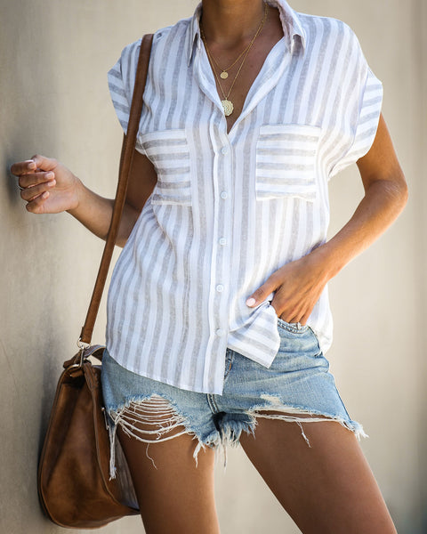 Easy As Ever Striped Button Down Top