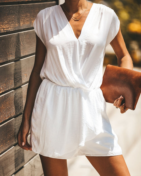 Take Me To Paris Satin Drape Romper - Off White - FINAL SALE