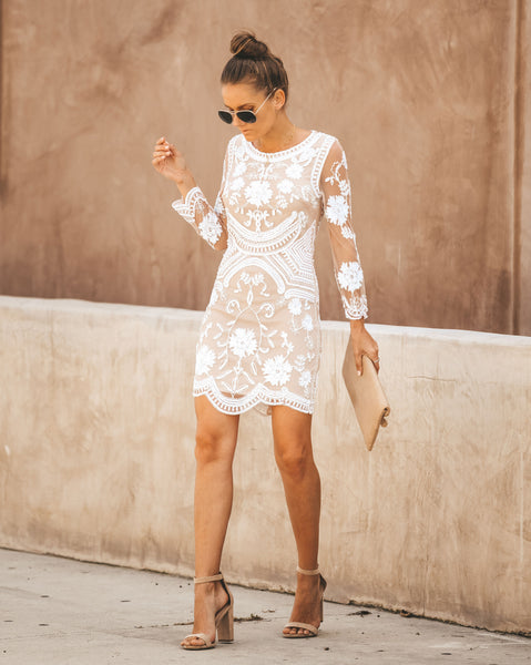 Nuptials Embellished Lace Bodycon Dress