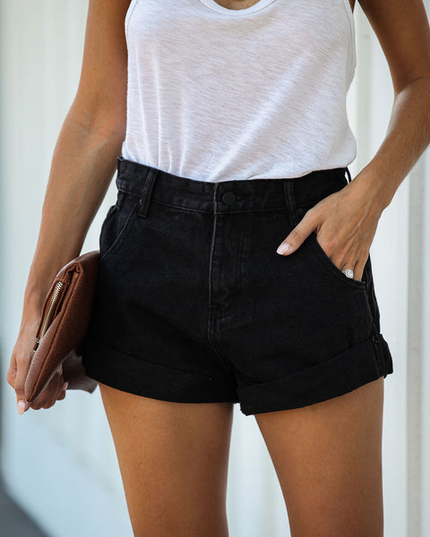 Juniper High Rise Cuffed Denim Shorts - Black