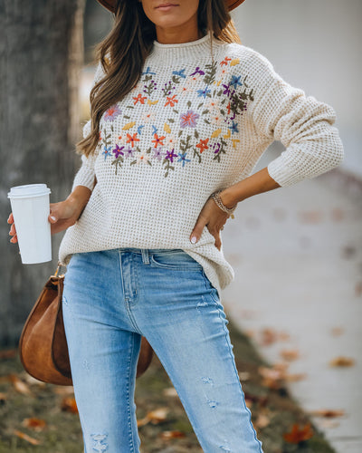 Patience Embroidered Floral Knit Sweater
