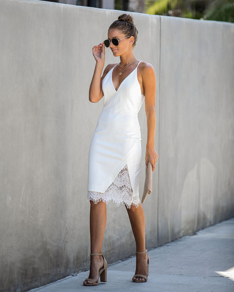 Opposites Attract Lace Bodycon Dress - Ivory