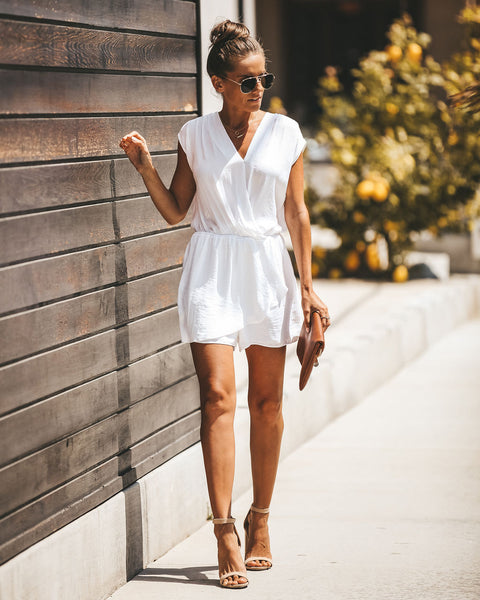 Take Me To Paris Satin Drape Romper - Off White