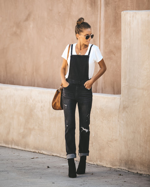 Hawk Distressed Pocketed Overalls - Black