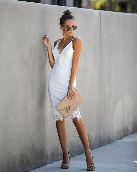 Opposites Attract Lace Bodycon Dress - Ivory - FINAL SALE