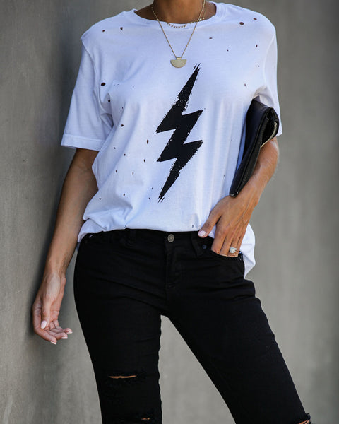 When Lightning Strikes Distressed Cotton Tee