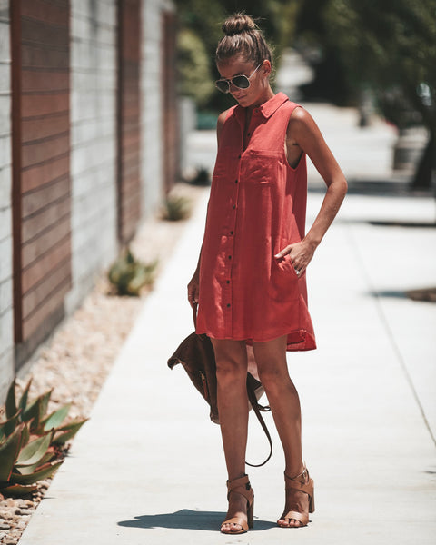 Chill With Me Pocketed Tunic - Dark Salmon