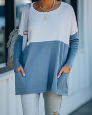 Very Special Pocketed Colorblock Knit Sweater - Slate Blue