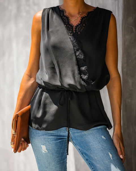 Mind Over Matter Sleeveless Wrap Blouse - Black