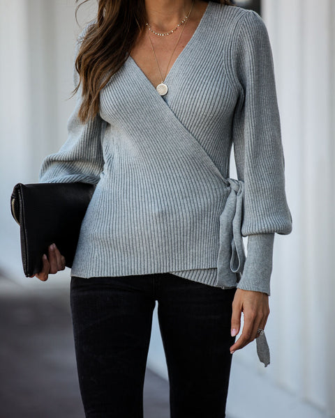 Harrison Ribbed Wrap Sweater - Heather Grey - FINAL SALE