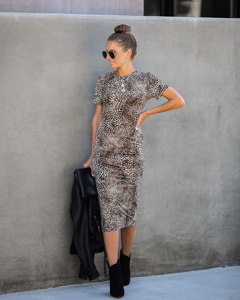 Feline Good Ruched Leopard Midi Dress