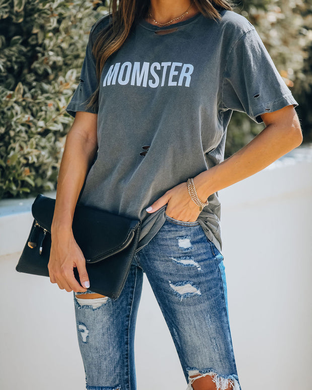 Momster Distressed Cotton Tee - FINAL SALE
