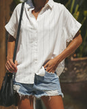 Business Or Pleasure Cotton Button Down Top - White