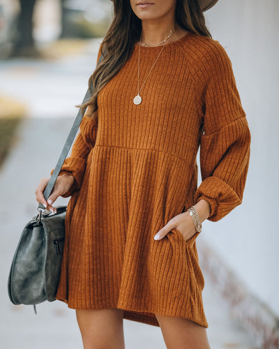Golden Hour Pocketed Ribbed Knit Dress