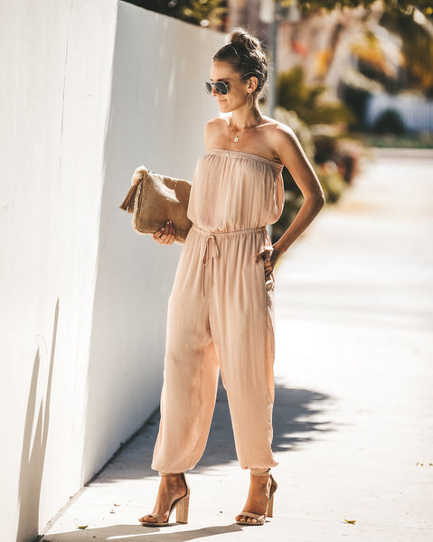 Step To It Strapless Pocketed Jumpsuit - Champagne