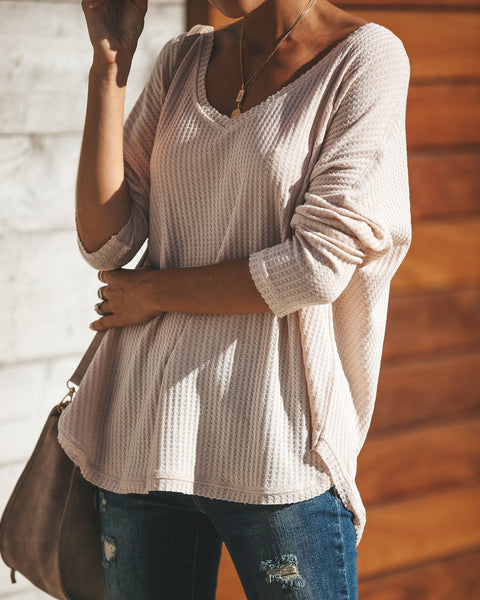 Between Us Thermal Knit Top - Warm Vanilla