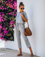 End Of Story Pocketed Knit Jumpsuit - Heather Grey