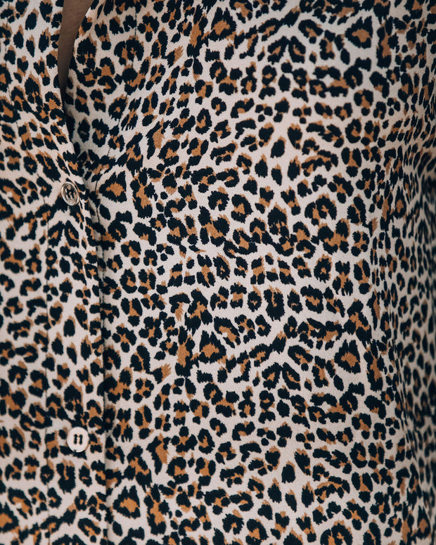 Novelty Pocketed Leopard Midi Shirt Dress - FINAL SALE view 4
