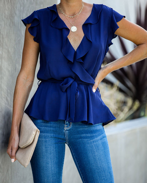 Role Model Ruffle Blouse - Navy