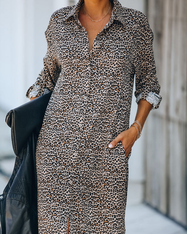 Novelty Pocketed Leopard Midi Shirt Dress - FINAL SALE view 6
