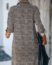 Novelty Pocketed Leopard Midi Shirt Dress - FINAL SALE view 2