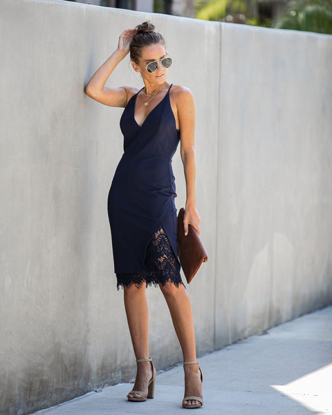 Opposites Attract Lace Bodycon Dress - Navy