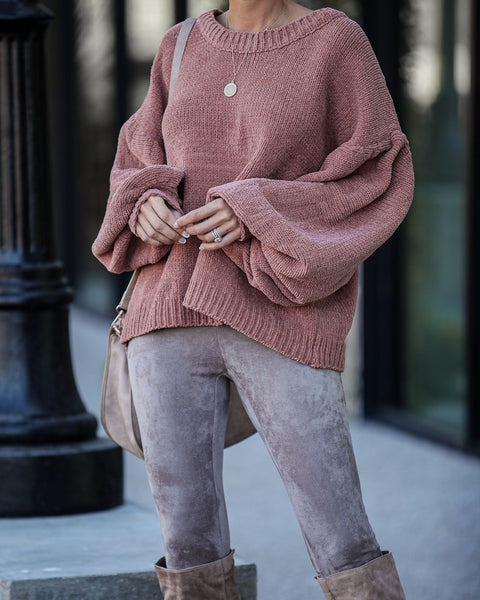 Stay Humble Balloon Sleeve Sweater - Ginger - FINAL SALE