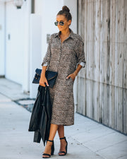 Novelty Pocketed Leopard Midi Shirt Dress - FINAL SALE view 1