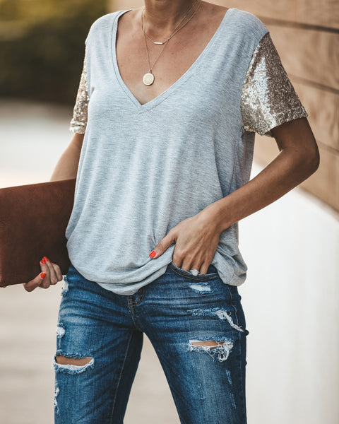 Stand Out Sequin Sleeve Tee - Heather Grey - FINAL SALE