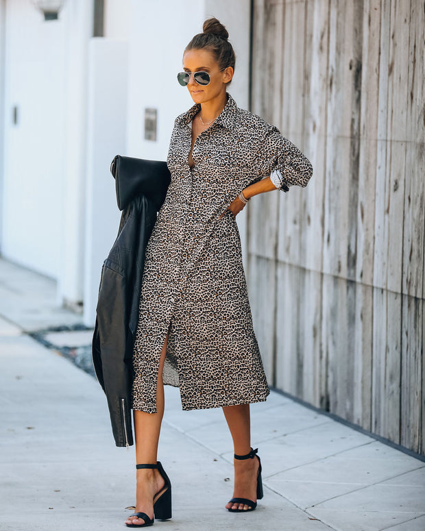Novelty Pocketed Leopard Midi Shirt Dress - FINAL SALE view 3