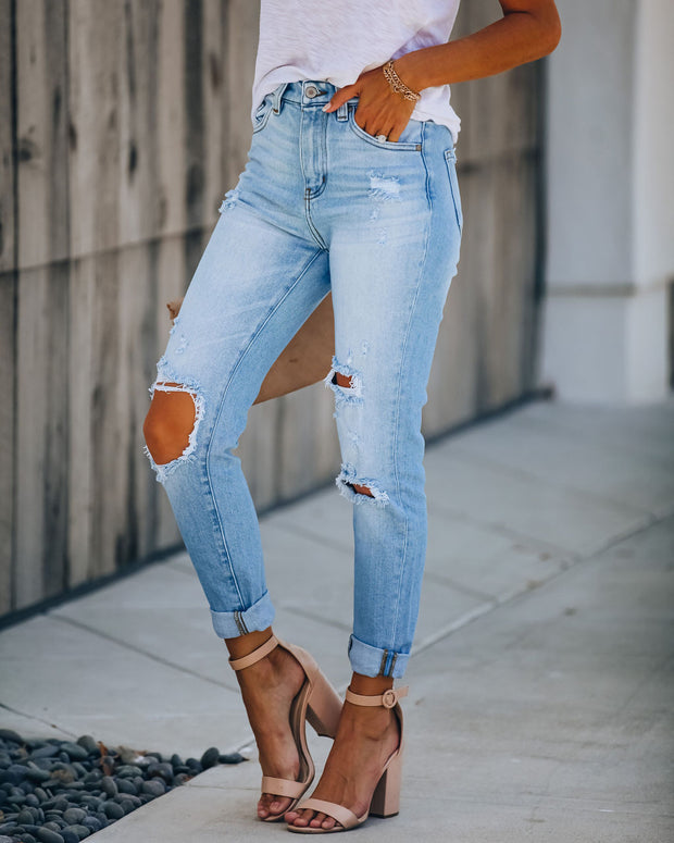 Chuck High Rise Distressed Denim