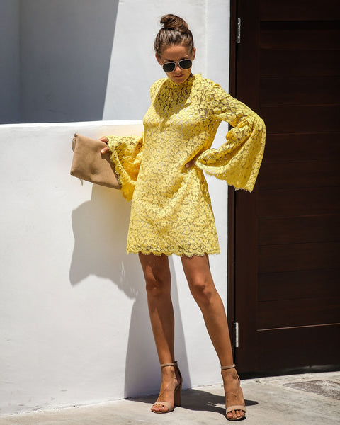Fit For A Queen Lace Dress - Honey Yellow - FINAL SALE