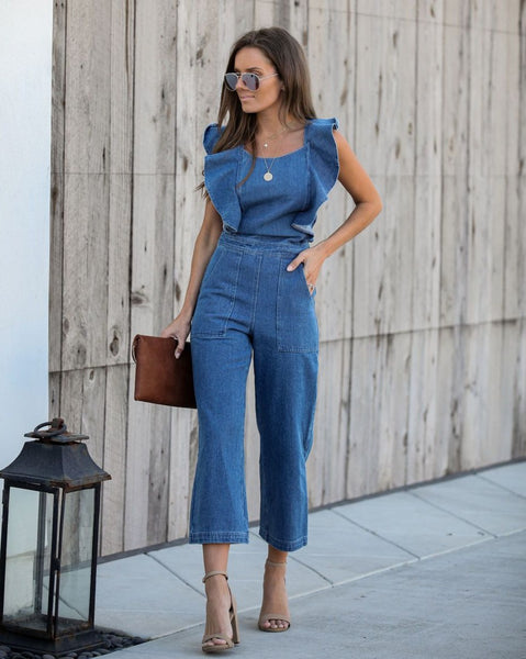Farrah Pocketed Denim Jumpsuit