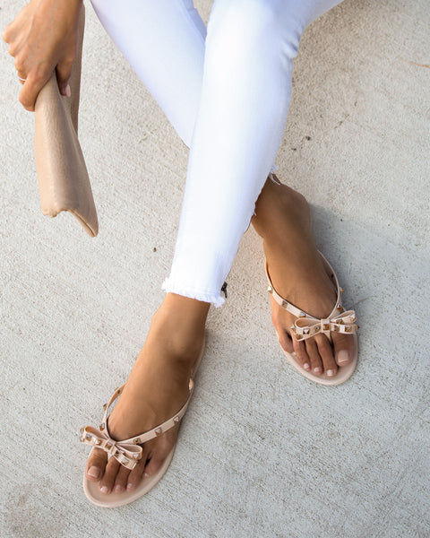 Claremont Gold Studded Sandals - Nude - FINAL SALE