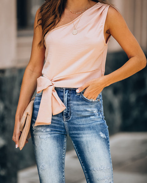 Delaney One Shoulder Crop Top - Salmon