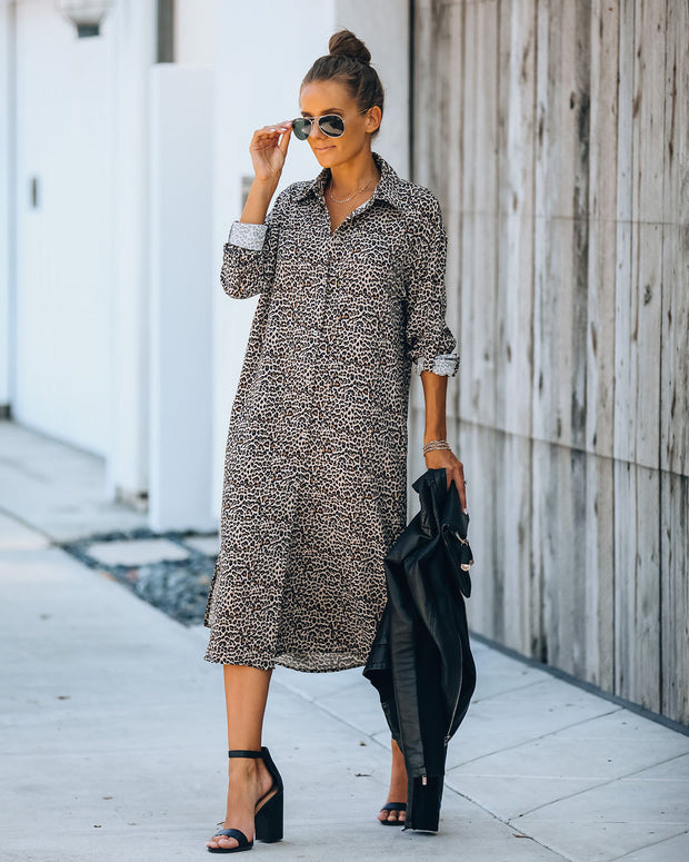 Novelty Pocketed Leopard Midi Shirt Dress - FINAL SALE view 7