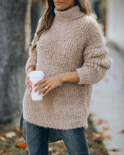 Above All Fuzzy Turtleneck Knit Sweater - Taupe