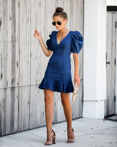 Chesney Denim Puff Sleeve Ruffle Dress - FINAL SALE