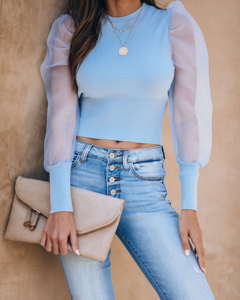 Glowing Halo Sheer Puff Sleeve Knit Top - Light Blue